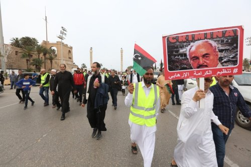 Libyans protest against Khalifa Haftar who launched a campaign to capture capital Tripoli, on 26 April 2019 [Hazem Turkia/Anadolu Agency]