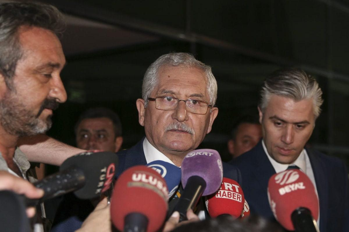 Sadi Guven, President of Supreme Election Council of Turkey (YSK), speaks to media outside the YSK building in Ankara, Turkey on 6 May 2019. [Muhammed Selim Korkutata - Anadolu Agency]