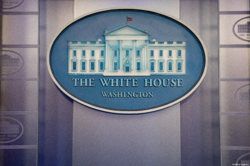 White House sign and logo at the Press Room in White House is seen in Washington DC, United States on 15 May 2019. [Yasin Öztürk - Anadolu Agency]