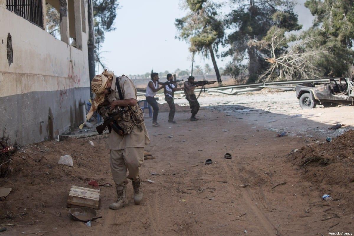 National Accord Government troops clash military commander Khalifa Haftar's troops on course of the airport in Al Sawani region of Tripoli, Libya on 15 May 2019 [Amru Salahuddien/Anadolu Agency]