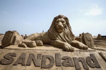 Sand sculptures are displayed during the 14th International Antalya Sand Sculpture Festival in Antalya, Turkey on 22 May, 2019 [Orhan Çiçek/Anadolu Agency]