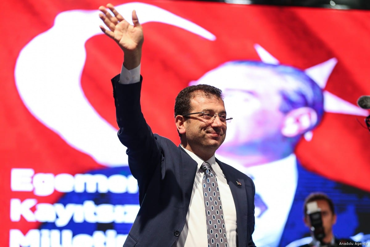 Ekrem Imamoglu addresses the crowd after the decision to rerun local elections in Istanbul, Turkey on 6 May, 2019 [Muhammed Enes Yıldırım/Anadolu Agency]