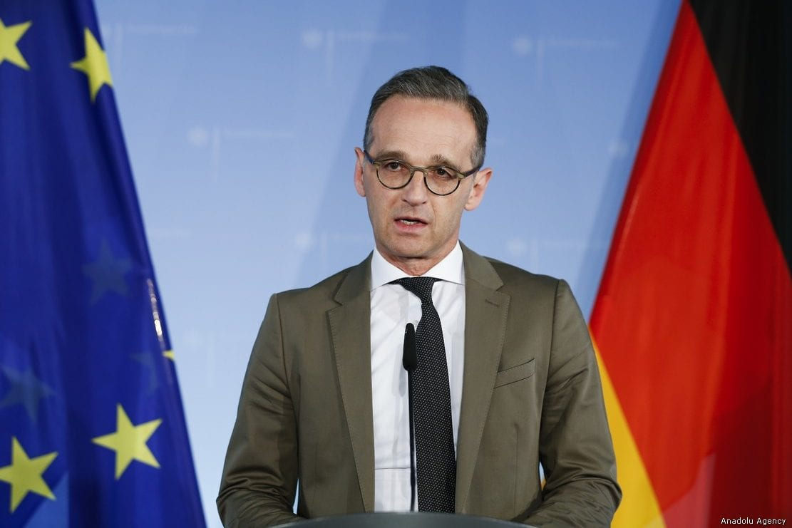 German Foreign Minister Heiko Maas speaks during the weekly press conference in Berlin on May 8, 2019 [Abdülhamid Hoşbaş / Anadolu Agency]