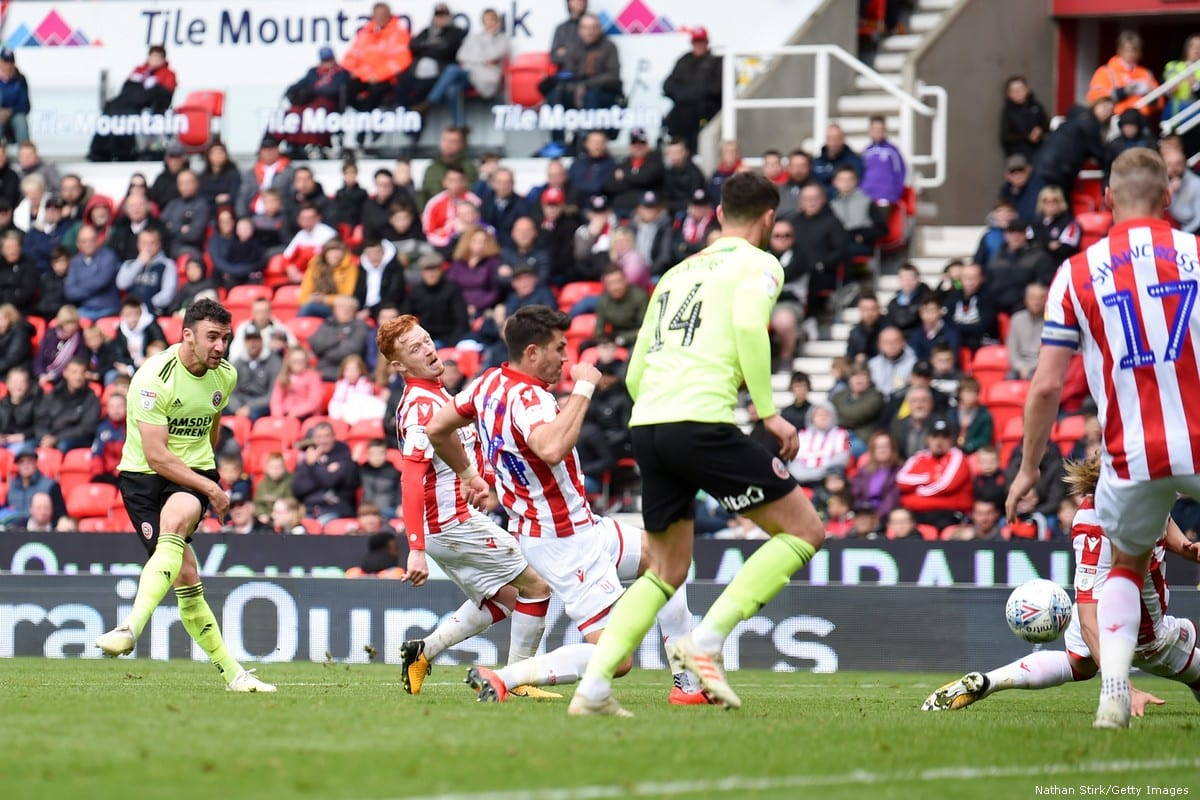 Sheffield United Football Club play against Stoke City in England on 5 May 2019 [Nathan Stirk/Getty Images]