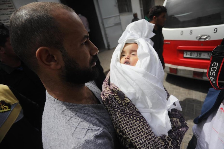 14-month-old Saba Mahmoud Abu Arar was killed by an Israeli air strike on Gaza, on 4 May 2019, [Mohammad Asad - Middle East Monitor]