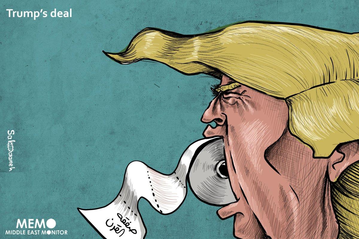 Trump's Deal - Cartoon [Sabaaneh/MiddleEastMonitor]