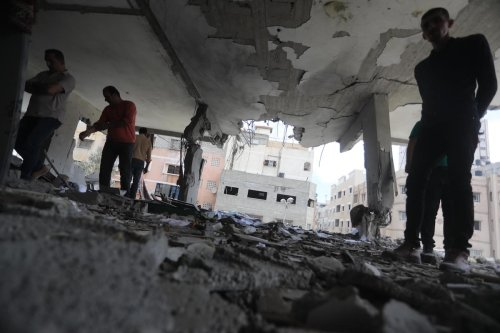 Three Palestinians were killed by Israeli air strikes on the blockaded Gaza strip, on 5 May 2019 [Mohammad Asad - Middle East Monitor]