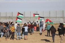 Gaza protests continue on 3 May 2019, Palestinians came out to stress that the Golan Heights are Arab, Syrian lands [Mohammed Asad/Middle East Monitor]