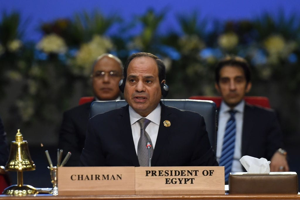 Egyptian President Abdel fattah al-Sisi chairs the closing session of the first joint European Union and Arab League summit in the Egyptian Red Sea resort of Sharm el-Sheikh, on 25 February, 2019 [MOHAMED EL-SHAHED/AFP/Getty Images]