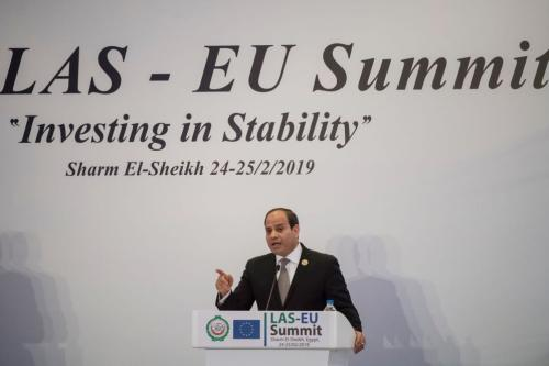 Egyptian President Abdel Fattah al-Sisi addresses a press conference at the end of the first joint European Union and Arab League summit in the Egyptian Red Sea resort of Sharm el-Sheikh, on 25 February, 2019 [KHALED DESOUKI/AFP/Getty Images]