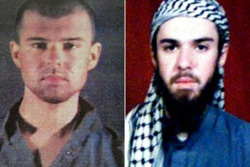 "This combination of pictures created on April 17, 2019 shows at left a police file photo made available February 6, 2002 of the ""American Taliban"" John Walker Lindh and at right a February 11, 2002 photograph of him as seen from the records of the Arabia Hassani Kalan Surani Bannu madrassa (religious school) in Pakistan's northwestern city of Bannu. [TARIQ MAHMOOD, AFP/Getty Images]"