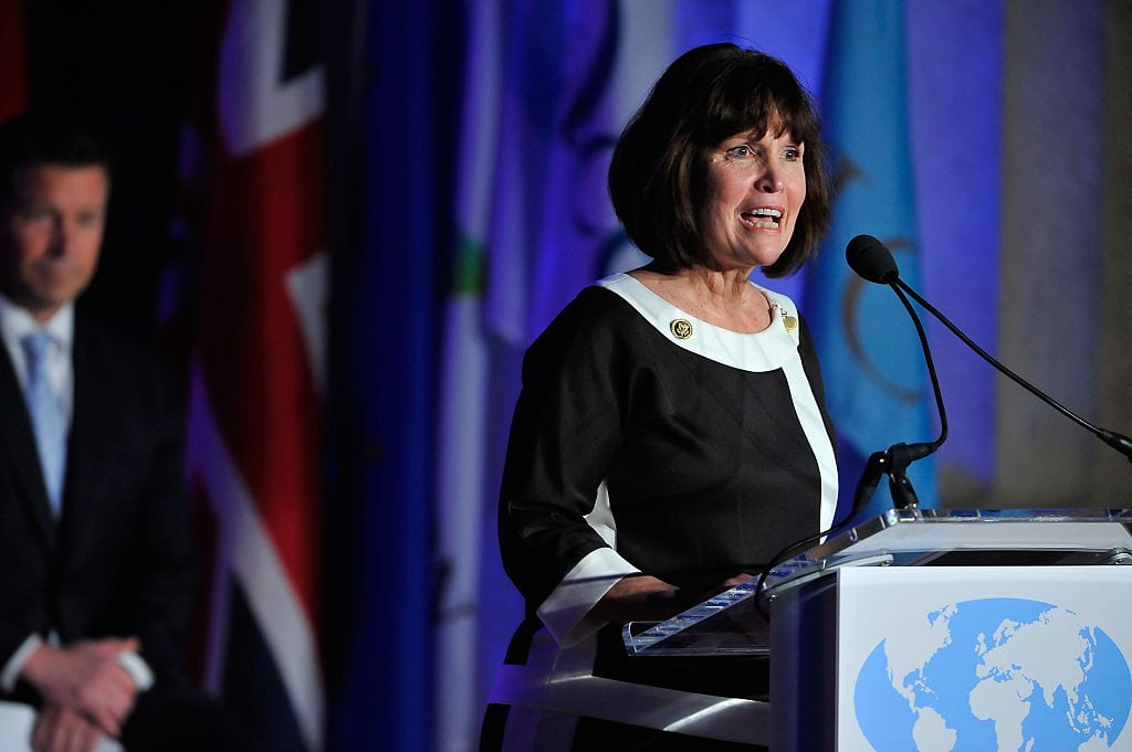 The Honorable Betty McCollum (D-MN), International Conservation Caucus Foundation Co-Chair and member of the US House of Representatives, speaks at the International ICCF gala before presenting Prince Charles, Prince of Wales, with the Teddy Roosevelt Award for Exceptional Leadership in Conservation on March 19, 2015 in Washington, DC. [Larry French/Getty Images]