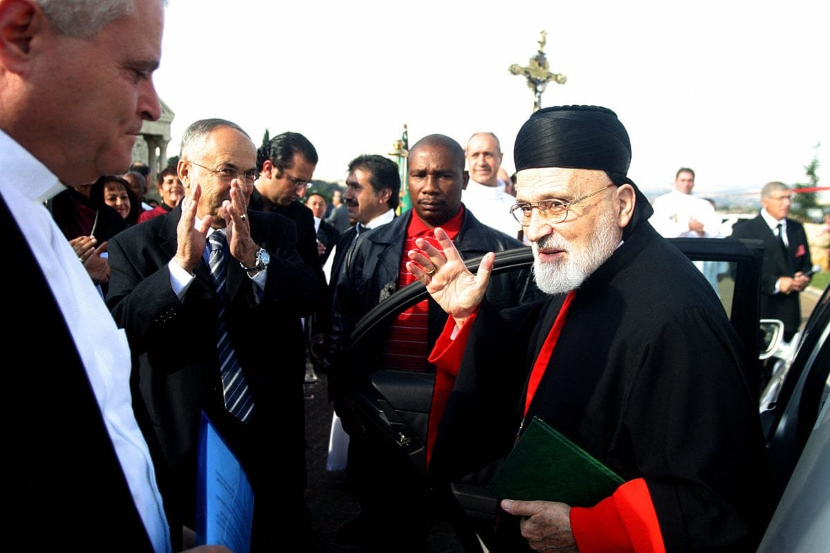 Cardinal Nasrallah Boutros Sfeir Patriarch of Antioch & all the East arrives on May 11, 2008 to attend the Consacration and Inauguration of Our Lady of the Lebanon church in Mulbarton south of Johannesburg,South Africa [PABALLO THEKISO/AFP/Getty Images]