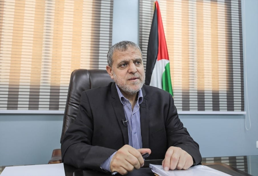 Member of Hamas Political Bureau Suhail Al-Hindi speaks during an exclusive interview in Gaza City, Gaza on 27 May 2019. [Anadolu Agency]