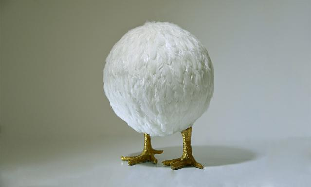 Nafie Ben Krich 'Chicken Ball II' (2015) Chicken feathers, gold leaf on polyester mould
