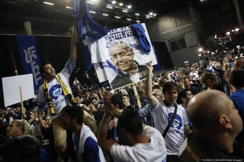 Supporters of the Israeli Prime Minister Benjamin Netanyahu come together in Tel Aviv on election night on 9 April 2019 [THOMAS COEX/AFP/Getty Images]