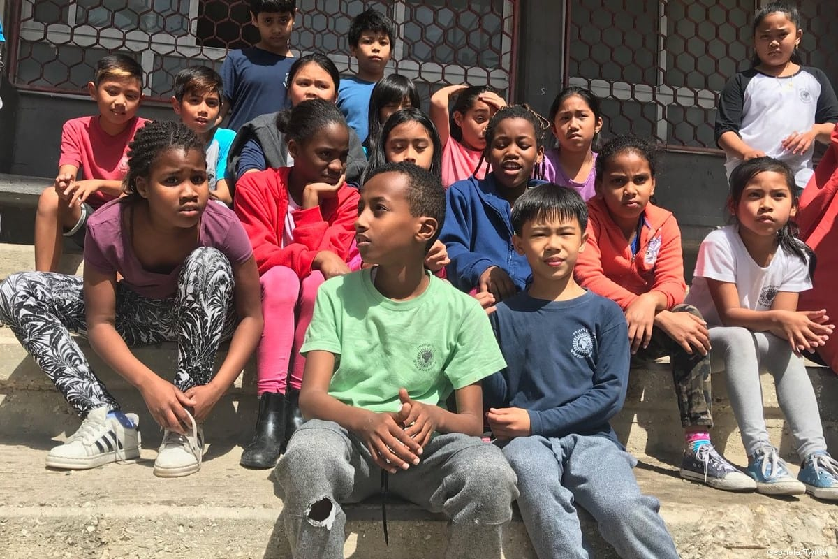 Children of migrant workers at the Bialik-Rogozin school in south Tel Aviv [Gabriela/Twitter]