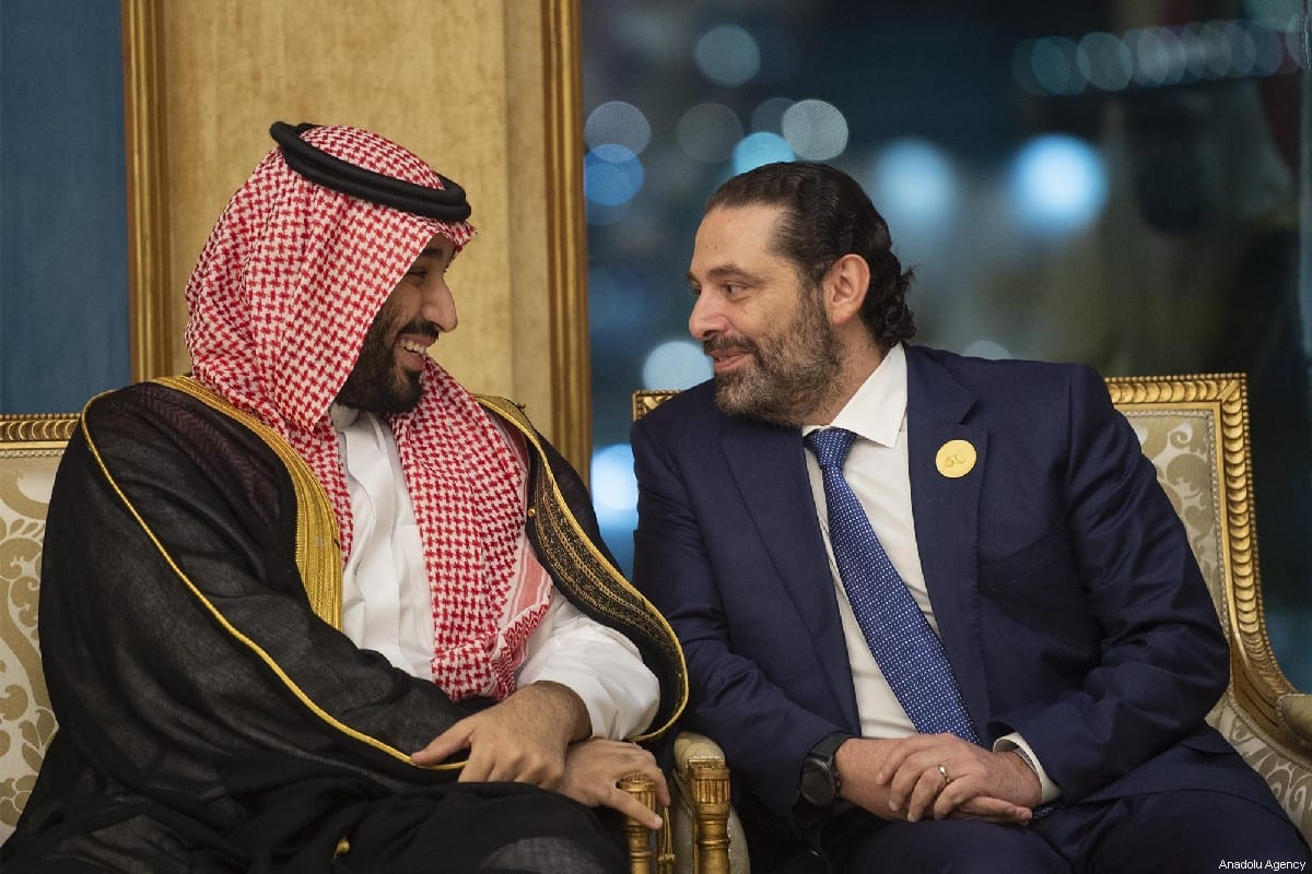 Crown Prince of Saudi Arabia Mohammad Bin Salman Al Saud (L) and Prime Minister of Lebanon Saad Hariri (R) in Mecca, Saudi Arabia on 1 June 2019 [BANDAR ALGALOUD/SAUDI KINGDOM COUNCIL/Anadolu Agency]
