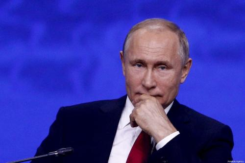Russian President Vladimir Putin attends the 2019 Saint Petersburg International Economic Forum (SPIEF-2019) at the Congress Hall of Congress Centre in Saint Petersburg, Russia on June 07, 2019 [Sefa Karacan / Anadolu Agency]
