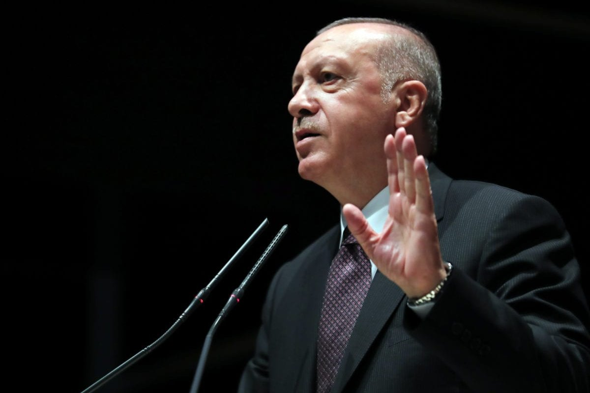 President of Turkey and leader of Turkey's ruling Justice and Development (AK) Party, Recep Tayyip Erdogan makes a speech ahead of group meeting at AK Party Headquarters in Ankara, Turkey on 12 June 2019. [Turkish Presidency / Kayhan Ozer / Handout - Anadolu Agency]
