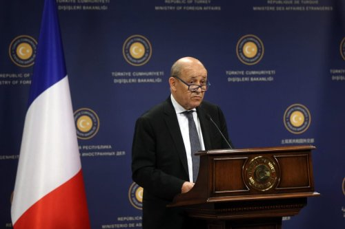 Minister of Foreign Affairs of France, Jean-Yves Le Drian speaks during a joint press conference held with Minister of Foreign Affairs of Turkey, Mevlut Cavusoglu (not seen) following their meeting in Ankara, Turkey on 13 June, 2019 [Evrim Aydın/Anadolu Agency]