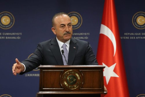 Minister of Foreign Affairs of Turkey, Mevlut Cavusoglu speaks during a joint press conference held with Minister of Foreign Affairs of France, Jean-Yves Le Drian (not seen) following their meeting in Ankara, Turkey on 13 June 2019. [Evrim Aydın - Anadolu Agency]