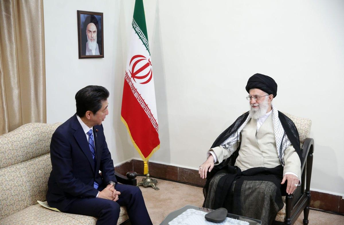 Japan's Prime Minister Shinzo Abe (L) meets Supreme Leader of Iran, Ali Khamenei (R) during his official visit in Tehran, Iran on June 13, 2019. [IRANIAN SUPREME LEADER PRESS OFFICE - HANDOUT - Anadolu Agency]