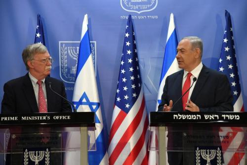 US National Security Adviser John Bolton (L) and Israeli Prime Minister Benjamin Netanyahu (R) hold a joint press conference after their meeting at the Prime Ministry office in West Jerusalem on June 23, 2019. [Haim Zach / GPO / Handout - Anadolu Agency]