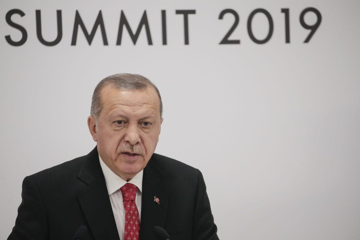 President of Turkey, Recep Tayyip Erdogan speaks during a press conference on the second day of the G20 summit at INTEX Osaka Exhibition Center in Osaka, Japan on 29 June 2019. [Metin Aktas - Anadolu Agency]