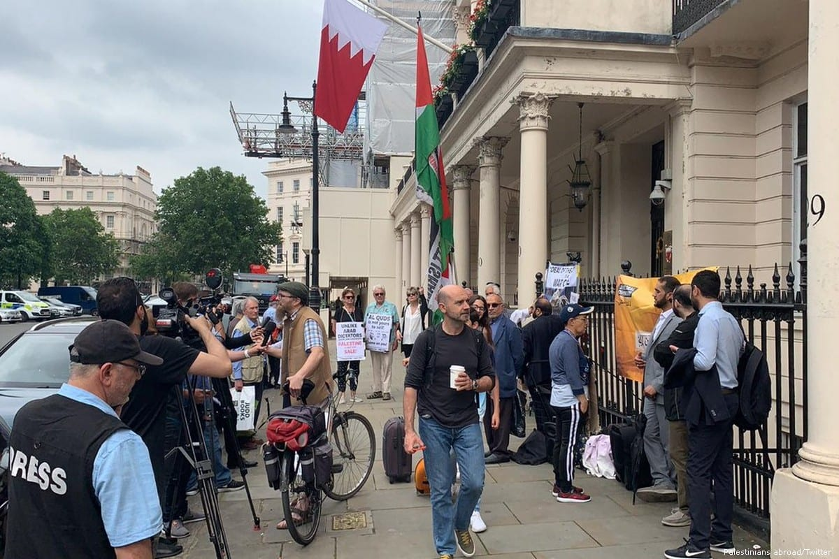 A protest in London in solidarity with the Palestinian people following the US-led conference in Bahrain on 26 June 2019 [Palestinians abroad/Twitter]