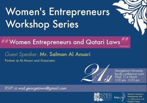 Advertisement of a workshop on Women Entrepreneurs [Zarqa Parvez]