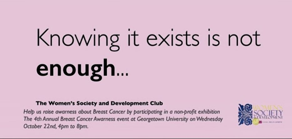 A poster from Women's Society & Development Club's Annual Breast Cancer Awareness Event [Zarqa Parvez]