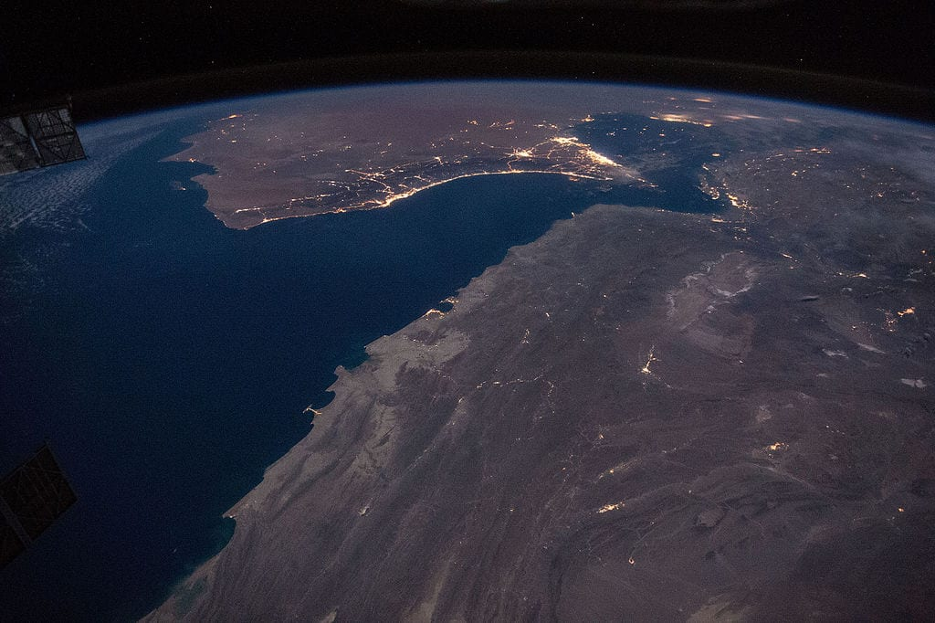 Gulf of Oman with Strait of Hormuz at night [Wikipedia]