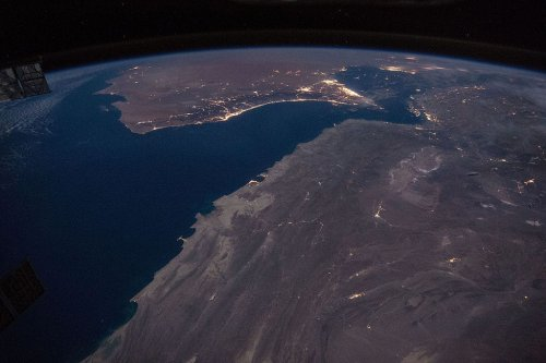 Gulf of Oman with Strait of Hormuz at night [Wikipedia]