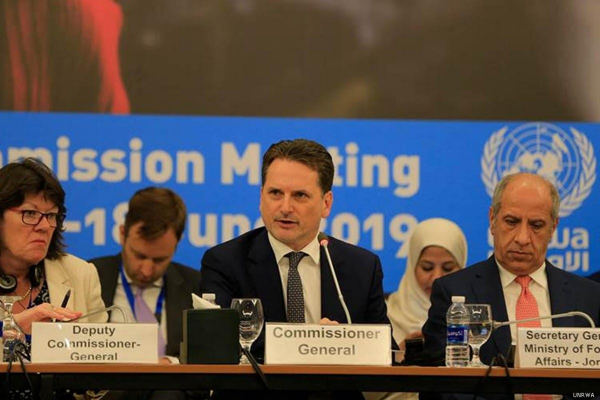UNRWA Commissioner-General Pierre Krahenbuhl (C) is seen at the Advisory Commission of the United Nations Relief and Works Agency for Palestine Refugees in the Near East (UNRWA) in Jordan