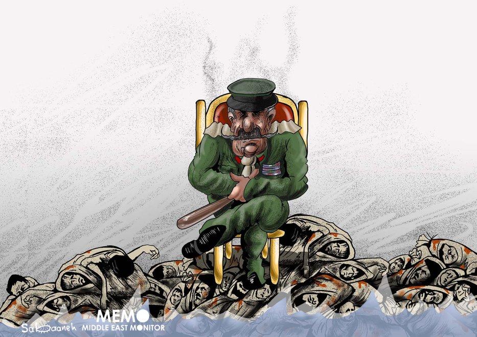 Massacre in Sudan - Cartoon [Sabaaneh/MiddleEastMonitor]