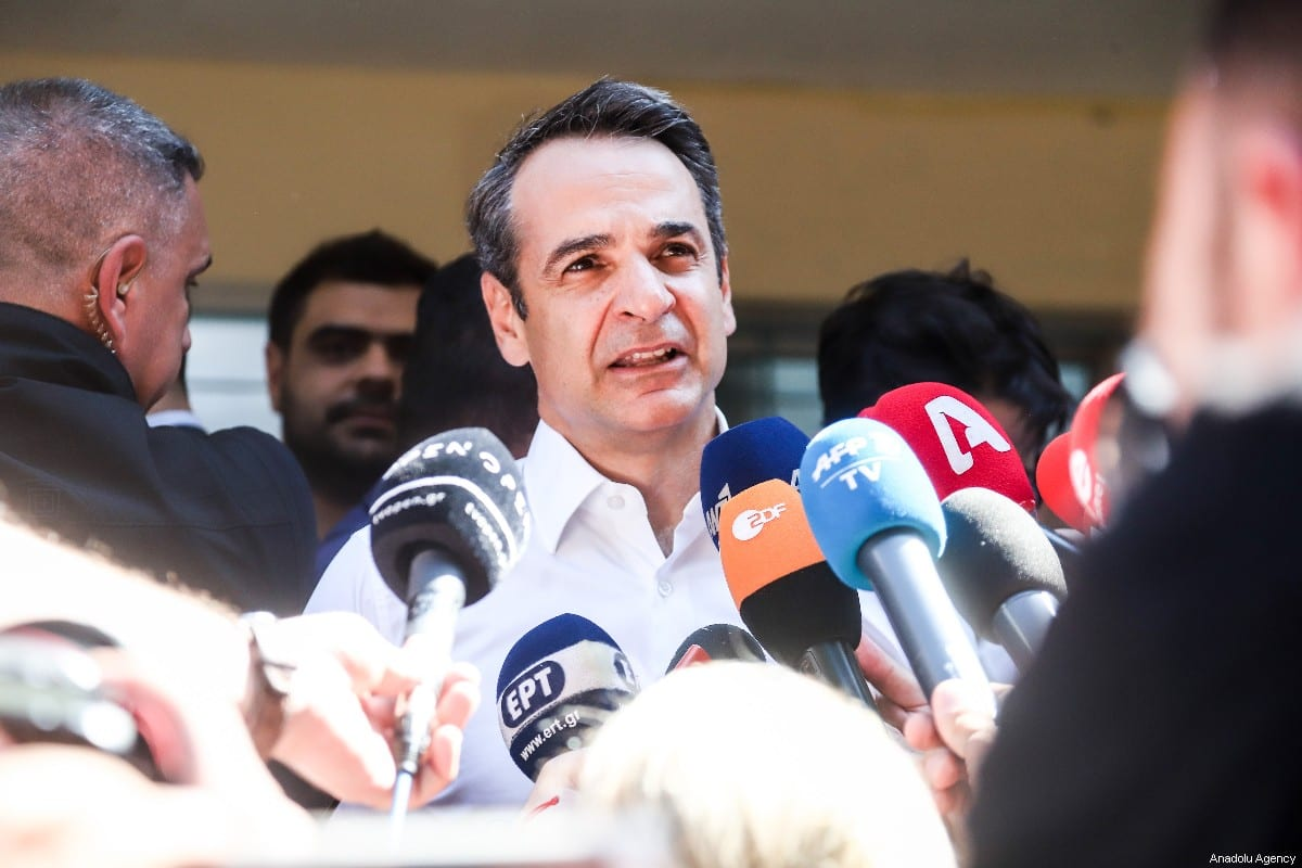 President of New Democracy Party, Kuriakos Mitsotakis, gives statements to the press members after casting his vote at Municipality of Peristeri, during the Greek general election 2019, in Athens on July 07, 2019 [Andreas Papakonstantinou / Anadolu Agency]
