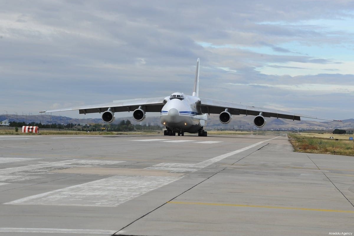 Russian Antonov AN-124 Russian transport aircraft, carrying the first batch of equipment of S-400 missile defense system, arrives at Murted Air Base in Ankara, Turkey on July 12, 2019 [Turkey's National Defense Ministry / Handout - Anadolu Agency]