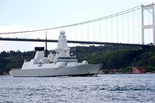 Warship belonging to British Navy, allegedly sent to the Strait of Hormuz is seen passing through the Bosphorus in Istanbul, Turkey on July 12, 2019. [Mehmet Eser/Anadolu Agency]