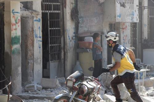 Civil defence crews conduct search and rescue works after airstrikes by Assad Regime and Russia's warplanes hit the de-escalation zone of Kafriya village in Idlib, Syria on July 13, 2019. [Ahmet Weys - Anadolu Agency]