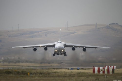 Cargo aircraft carrying components of Russian S-400 Long Range Air and Missile Defense Systems takes-off from Murted Air Base in Ankara, Turkey on July 14, 2019. [Gökhan Balcı - Anadolu Agency]