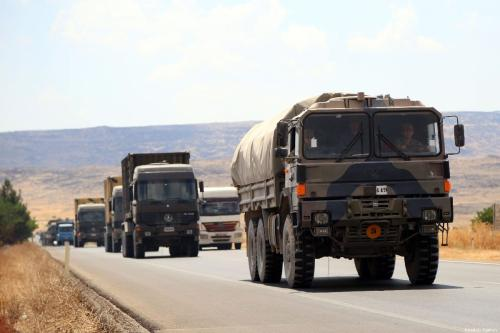 Turkish Armed Forces' military convoy, consisting of armoured vehicles, ammunition and howitzers are being dispatched from Kilis towards Gaziantep to support the units at the Syrian border, on 14 July 2019 in Kilis, Turkey. [İzzet Mazi - Anadolu Agency]