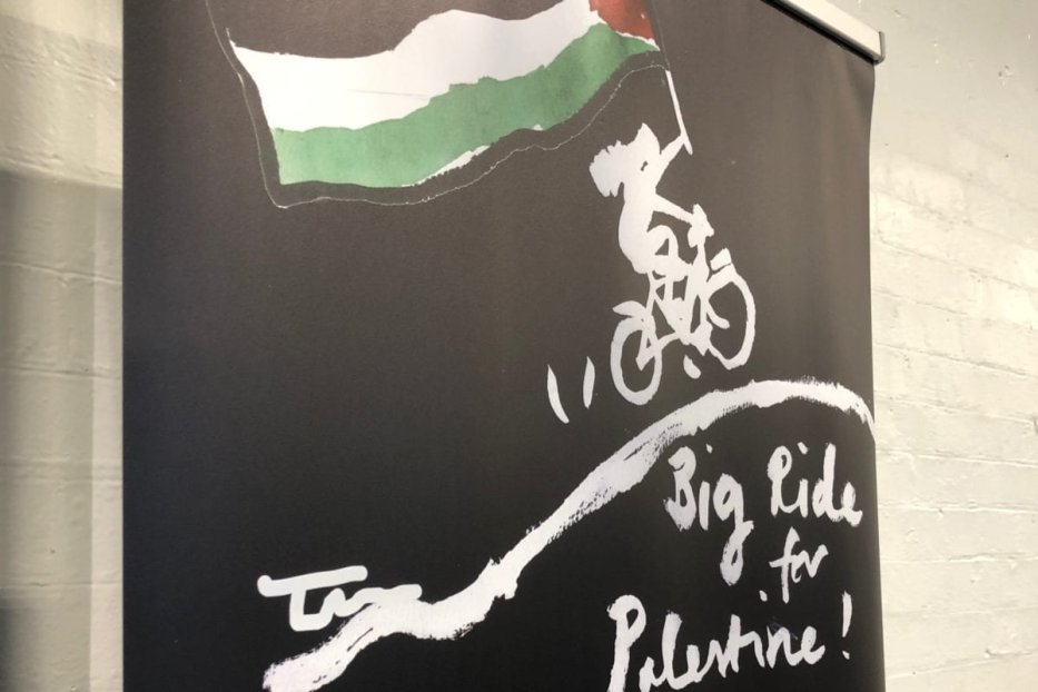 Big Ride for Palestine at London's PalExpo, on July 2019 [Middle East Monitor]