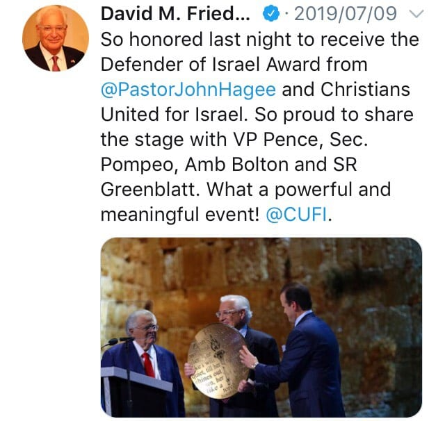 A tweet by US ambassador to Israel, David Friedman, dates July 9, 2019
