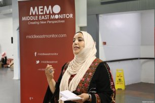 MEMO's Maha Salah talks on the Palestinian Pantry at the Palestine Expo 2019 on 6 July 2019 in London, UK [Middle East Monitor]