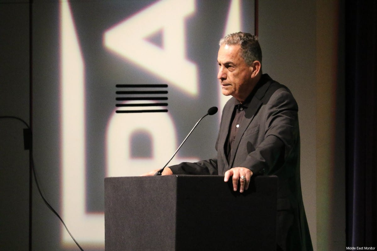 Israeli journalist, Gideon Levy, seen addressing the audience on the first day of the Palestine Expo 2019 on 6 July 2019 in London, UK [Middle East Monitor]