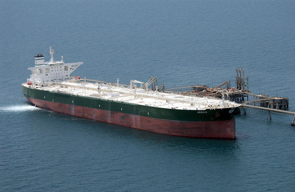 Commercial oil tanker AbQaiq readies itself to receive oil at Mina-Al-Bkar Oil terminal (MABOT), an off shore Iraqi oil installation [US Navy-Wikipedia]
