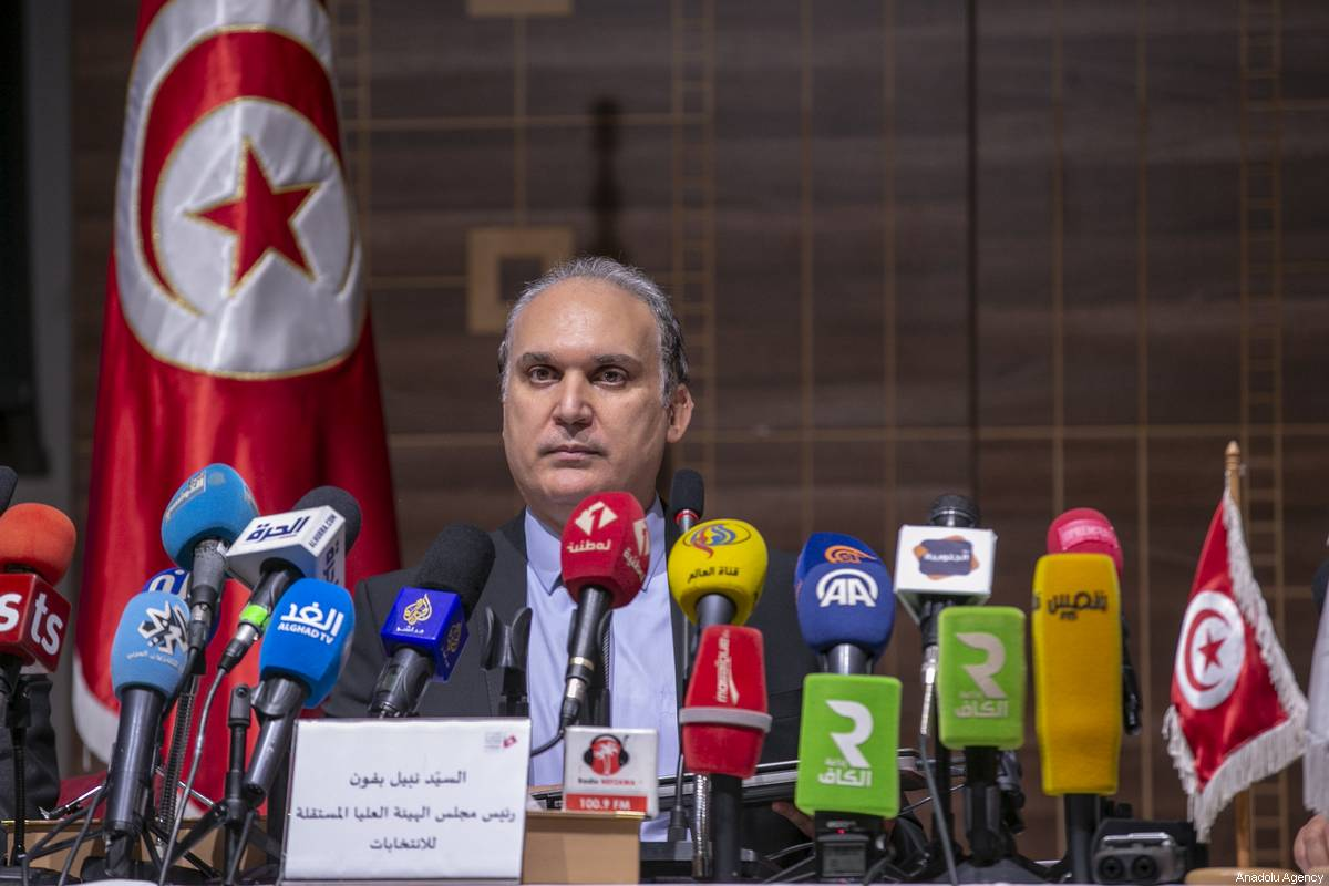 Head of the Tunisian Electoral Commission Nabil Baffoun, speaks during a press conference in Tunis, Tunisia on July 30, 2019 [Yassine Gaidi / Anadolu Agency]