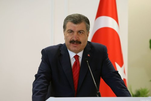 Turkey's Health Minister Fahrettin Koca and Bahrain's Health Minister Faeqa bint Saeed Al Saleh (not seen) hold a press conference after a meeting in Ankara,Turkey on 31 July, 2019 [Aytuğ Can Sencar/Anadolu Agency]