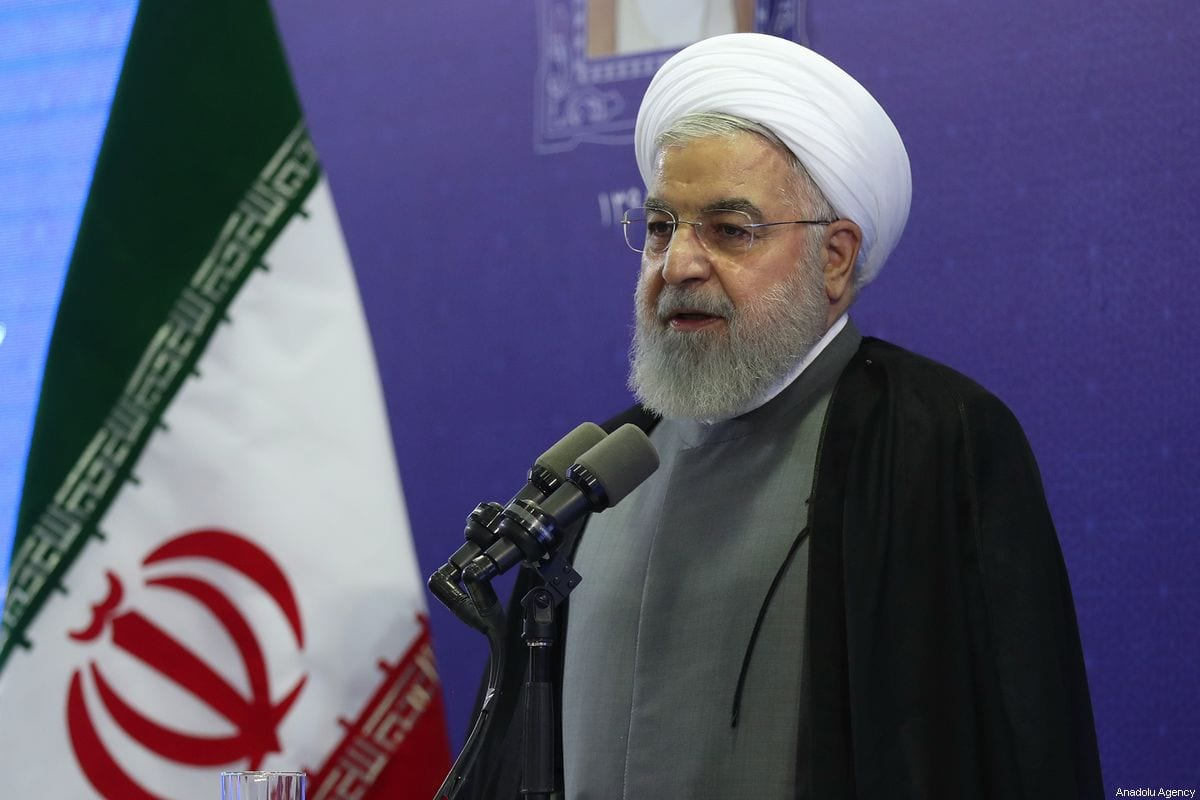 Iranian President Hassan Rouhani delivers a speech regarding the inclusion of Iranian Foreign Minister Javad Zarif in US sanctions, as he attends a ceremony in Tabriz, Iran on 1 August 2019. [Presidency of Iran / Handout - Anadolu Agency]